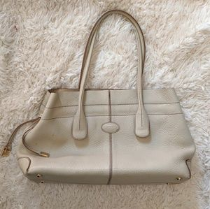 TOD'S D-styling Bag in Pebbled Ivory